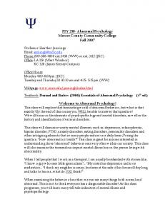 PSY 210- Abnormal Psychology Mercer County Community College Fall Welcome to Abnormal Psychology!