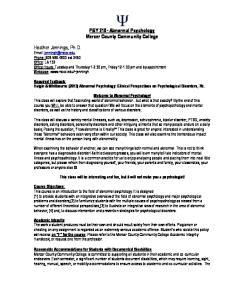 PSY 210- Abnormal Psychology Mercer County Community College