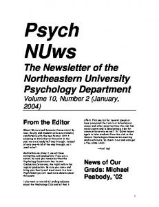 Psych NUws. The Newsletter of the Northeastern University Psychology Department Volume 10, Number 2 (January, 2004) From the Editor