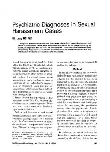 Psychiatric Diagnoses in Sexual Harassment Cases