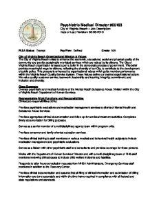 Psychiatric Medical Director #05163 City of Virginia Beach Job Description Date of Last Revision: