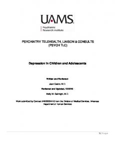 PSYCHIATRY TELEHEALTH, LIAISON & CONSULTS (PSYCH TLC) Depression in Children and Adolescents