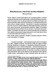 PSYCHOANALIZA A POLITYKA: STAWKA PODMIOTU