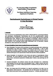 Psychodynamic Psychotherapy in Clinical Practice A 4-day Workshop