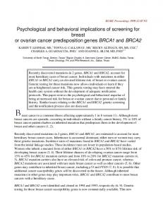 Psychological and behavioral implications of screening for breast or ovarian cancer predisposition genes BRCA1 and BRCA2