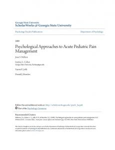 Psychological Approaches to Acute Pediatric Pain Management