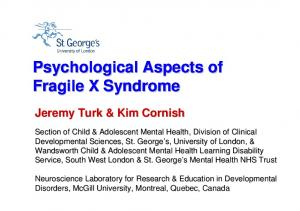 Psychological Aspects of Fragile X Syndrome