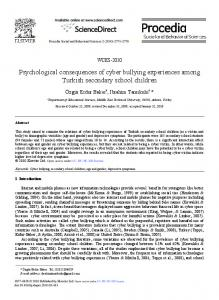 Psychological consequences of cyber bullying experiences among Turkish secondary school children