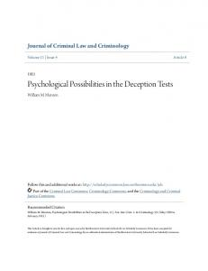 Psychological Possibilities in the Deception Tests