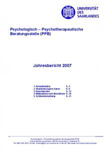 Psychologisch Psychotherapeutische Beratungsstelle (PPB) Jahresbericht 2007