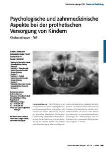 Psychologische und zahnmedizinische Aspekte bei der prothetischen Versorgung von Kindern