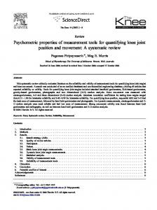 Psychometric properties of measurement tools for quantifying knee joint position and movement: A systematic review