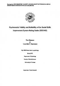 Psychometric Validity and Reliability of the Social Skills Improvement System-Rating Scales (SSIS-RS)