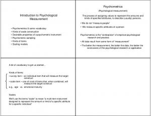 Psychometrics. Introduction to Psychological Measurement. (Psychological measurement)
