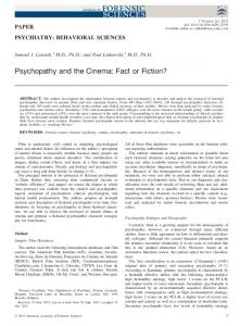 Psychopathy and the Cinema: Fact or Fiction?