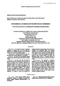 PSYCHOSOCIAL DETERMINANTS OF POSTPARTUM DEPRESSION PSYCHOSPOŁECZNE DETERMINANTY DEPRESJI POPORODOWEJ