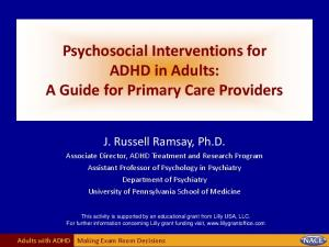 Psychosocial Interventions for ADHD in Adults: A Guide for Primary Care Providers