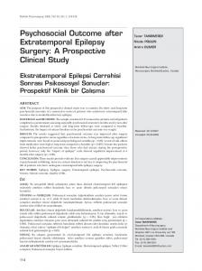 Psychosocial Outcome after Extratemporal Epilepsy Surgery: A Prospective Clinical Study
