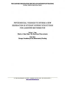 PSYCHOSOCIAL THEORIES TO INFORM A NEW GENERATION OF STUDENT SUPPORT STRUCTURES FOR LEARNING MATHEMATICS