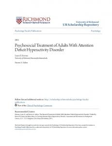 Psychosocial Treatment of Adults With Attention Deficit Hyperactivity Disorder