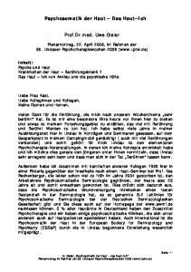 Psychosomatik der Haut Das Haut Ich. Prof.Dr.med. Uwe Gieler