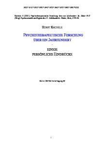 PSYCHOTHERAPEUTISCHE FORSCHUNG