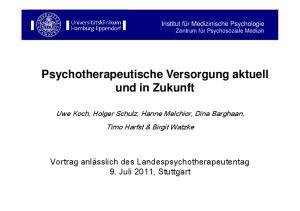 Psychotherapeutische Versorgung aktuell und in Zukunft