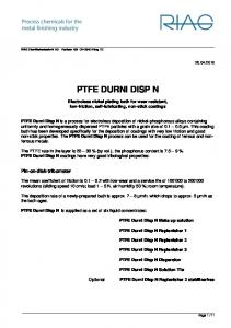 PTFE DURNI DISP N. Electroless nickel plating bath for wear resistant, low-friction, self-lubricating, non-stick coatings