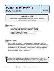 PUBERTY: MY PRIVATE BODY Lesson 3