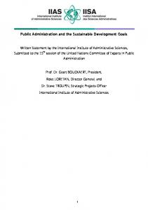 Public Administration and the Sustainable Development Goals