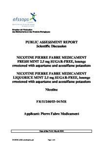PUBLIC ASSESSMENT REPORT Scientific Discussion