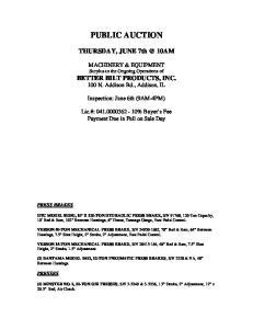PUBLIC AUCTION. THURSDAY, JUNE 10AM