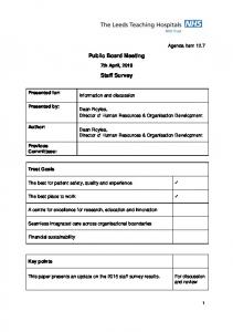 Public Board Meeting. Staff Survey