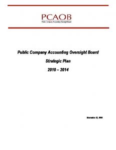 Public Company Accounting Oversight Board Strategic Plan