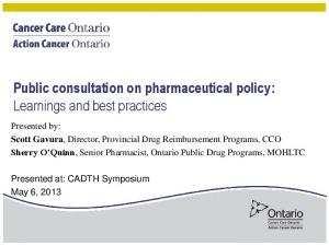 Public consultation on pharmaceutical policy: Learnings and best practices