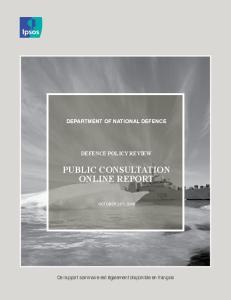 PUBLIC CONSULTATION ONLINE REPORT