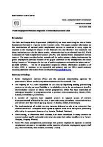 Public Employment Services Responses to the Global Economic Crisis. Introduction