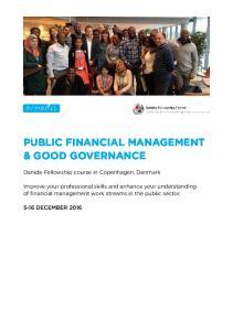PUBLIC FINANCIAL MANAGEMENT & GOOD GOVERNANCE