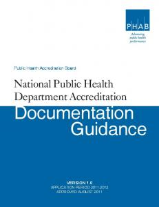Public Health Accreditation Board. National Public Health Department Accreditation. Documentation Guidance
