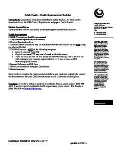 Public Health Health Requirements Checklist