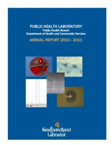 PUBLIC HEALTH LABORATORY Public Health Branch Department of Health and Community Services ANNUAL REPORT Page 0 of 36