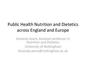 Public Health Nutrition and Dietetics across England and Europe