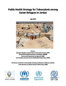 Public Health Strategy for Tuberculosis among Syrian Refugees in Jordan