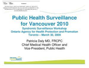 Public Health Surveillance for Vancouver 2010 Syndromic Surveillance