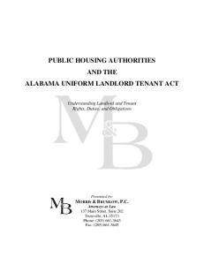 PUBLIC HOUSING AUTHORITIES AND THE ALABAMA UNIFORM LANDLORD TENANT ACT