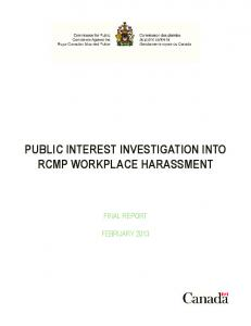 PUBLIC INTEREST INVESTIGATION INTO RCMP WORKPLACE HARASSMENT FINAL REPORT