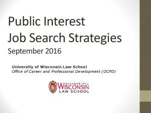 Public Interest Job Search Strategies