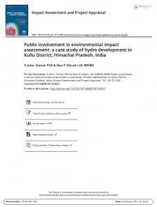 Public involvement in environmental impact assessment: a case study of hydro development in Kullu District, Himachal Pradesh, India