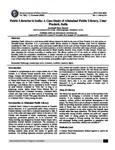 Public Libraries in India: A Case Study of Allahabad Public Library, Uttar Pradesh, India