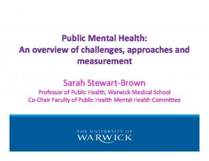 Public Mental Health: An overview of challenges, approaches and measurement